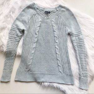 American Eagle Cable Knit Light Blue Sweater
